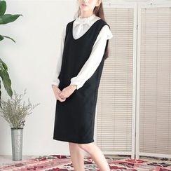 11.STREET - Plain Midi Pinafore Dress