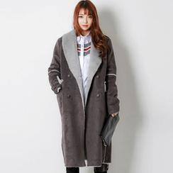 FASHION DIVA - Shawl-Collar Buttoned Faux-Shearling Coat