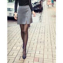 GUMZZI - Buttoned Wrap Skirt