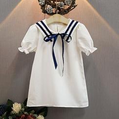 Cuckoo - 小童短袖配色边水手领裙衣
