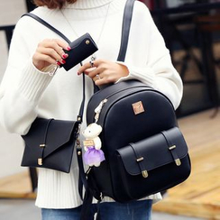 Merlain - Set: Faux Leather Backpack + Shoulder Bag + Key Holder
