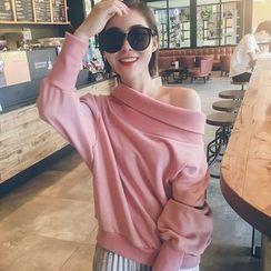 LRZ - Plain Off-shoulder Sweatshirt