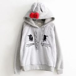 Suzette - Rabbit Ear Accent Embroidered Hoodie