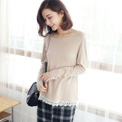 Tokyo Fashion - Long-Sleeve Lace-Trim Top