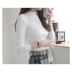 demavie - Mock-Neck Rib-Knit Top