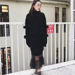 AMELA - Set: Turtleneck Pullover Dress + Midi Tulle Skirt
