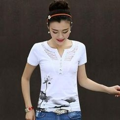 inspot - Short-Sleeve Lace Print T-Shirt