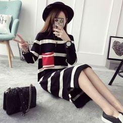 Qimi - 條紋針織連衣裙