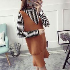 Qimi - 套裝:條紋長袖上衣 + 無袖針織連衣裙