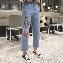 MATO - Cartoon Print Cropped Jeans