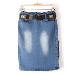 Isadora - 水洗牛仔短裙连铆钉腰带