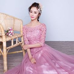 Fantasy Bride - Elbow-Sleeve Lace Panel Sheath Evening Gown