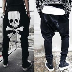 Fireon - Skull Print Harem Pants