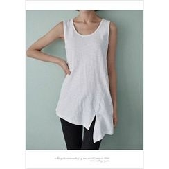 GOROKE - Asymmetric-Hem Cotton Tank Top