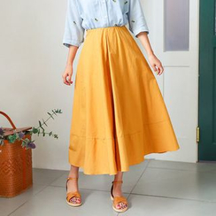 Seoul Fashion - Band-Waist A-Line Maxi Skirt