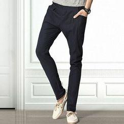 HEIZE - Plain Straight-Leg Pants