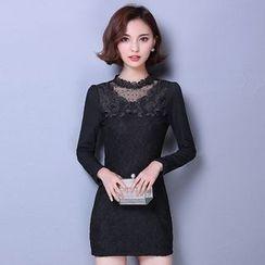 LunarS - Lace Panel Bodycon Dress