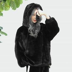 chuu - Hood Zip-Side Faux-Fur Pullover