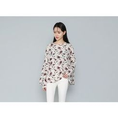 Envy Look - Bell-Sleeve Floral Pattern Blouse