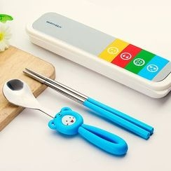 SIMBLER - Kids Set: Stainless Steel Spoon + Chopsticks