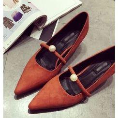 QQ Trend - 仿珍珠尖头高跟鞋