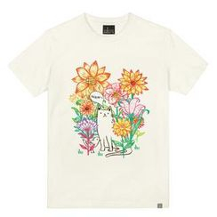 the shirts - Floral Cat Print T-Shirt