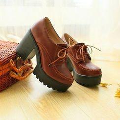 Pastel Pairs - 厚底粗跟系带鞋