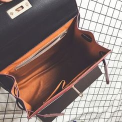 Nautilus Bags - Colour Block Faux Leather Satchel