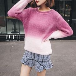 PUFII - Ombré Furry Knit Sweater