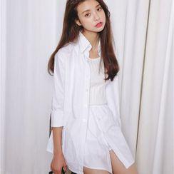 Porta - Set : Plain Long-Sleeve Blouse + Skirt + Tank Top