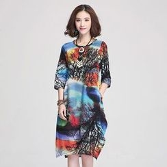 Jiuni - Printed 3/4-Sleeve Dress