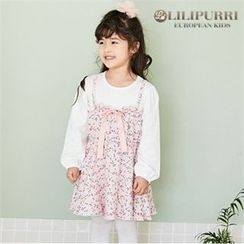 LILIPURRI - Girls Mock Two-Piece Floral Dress
