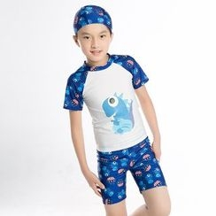 Aqua Wave - Kids Set: Dinosaur Print Rashguard + Swim Shorts