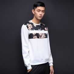 T for TOP - Long-Sleeve Floral Panel Top