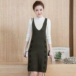 Yumerakka - Set: Mock Neck Sweater + Sleeveless knit Dress