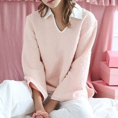 Saacheer - Pajama Set: Collared Long Sleeve Top + Plain Pants