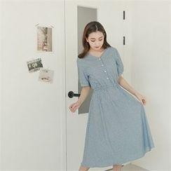 Styleberry - Half-Placket Stripe A-Line Dress