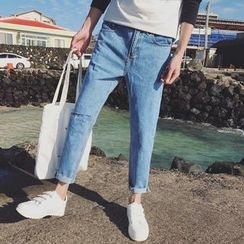 Arthur Look - Letter Embroidered Ripped Jeans