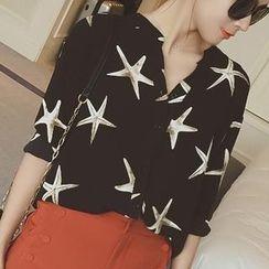 MayFair - Starfish Print Chiffon Shirt