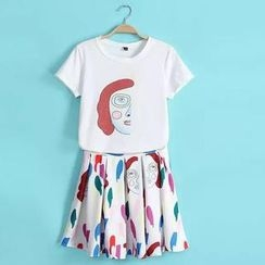 JVL - Set: Printed T-Shirt + Skirt