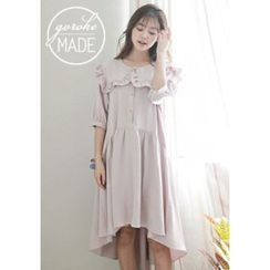 GOROKE - Frilled Wide-Collar Dip-Back Shirtdress