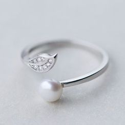 A'ROCH - 925 Sterling Silver Freshwater Pearl Rhinestone Sterling Silver Open Ring
