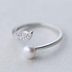 A'ROCH - 925纯银淡水珍珠水钻纯银开口指环