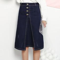 Fumoya - Slit Denim A-line Skirt