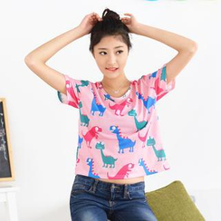 59 Seconds - Dinosaurs Print Cropped Top
