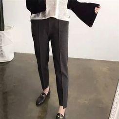 Elfina - Elastic Waist Seam Front Tapered Pants