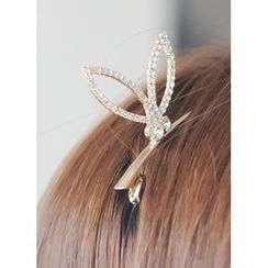 kitsch island - Rabbit Ear-Rhinestone Hair Clip