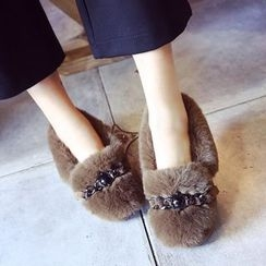 Sunsteps - Chain Detail Furry Flats