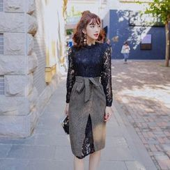 Tang House - Set: Lace Long-Sleeve Dress + Slit Front Midi Skirt