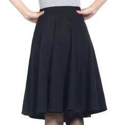 Shatan - Plain A-Line Midi Skirt